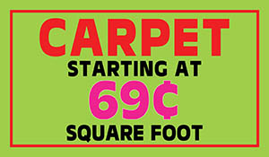 Carpet starting at 69¢ sq.ft. during the End of Summer Sale at Floors To Go of Indianapolis