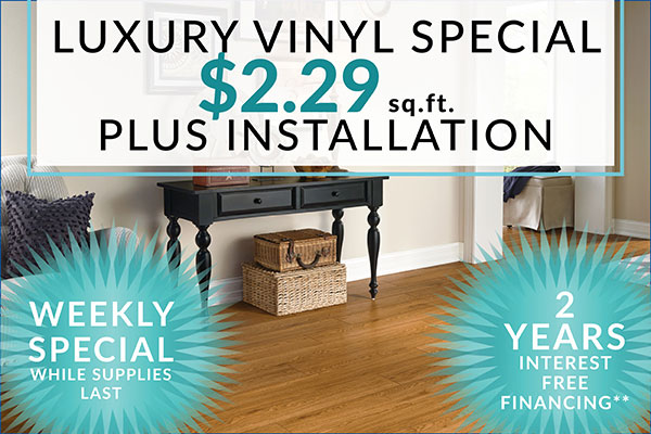 Week Sale Special! Luxury Vinyl on sale for only $2.29 Sq.Ft. plus installation - 2 years interest free financing availabe - Hurry in while supplies last only at Floors To Go Of Indianapolis