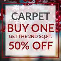 Buy one sq.ft. Carpet, get the second 50% off during our Home for the Holidays Flooring Sale at Floors to Go of Indianapolis, IN