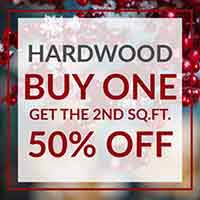 Buy one sq.ft. Hardwood Flooring, get the second 50% off during our Home for the Holidays Flooring Sale at Floors to Go of Indianapolis, IN
