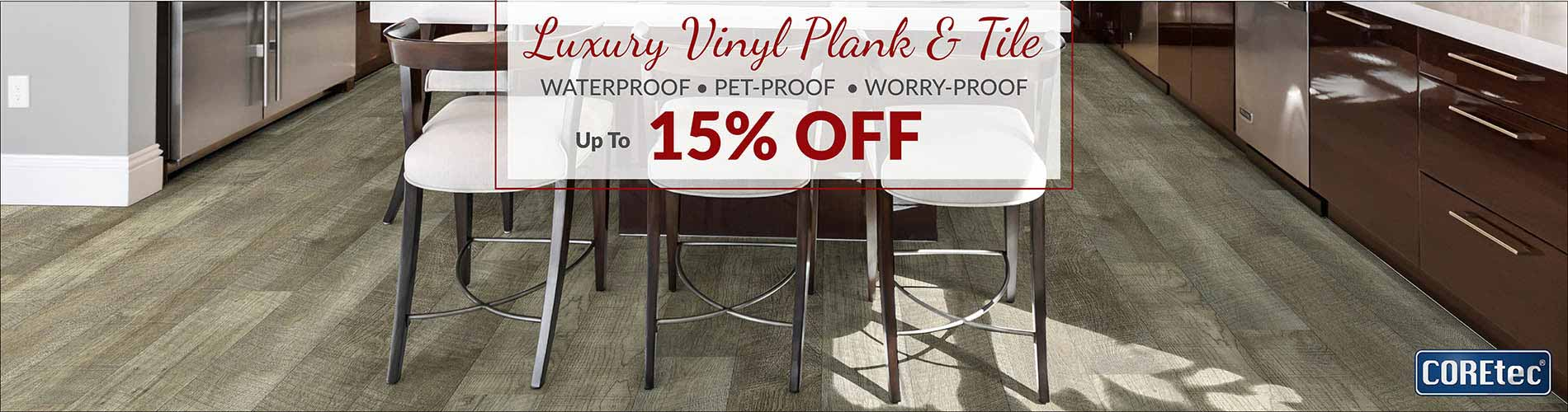 Save up to 15% off Luxury Vinyl Plank & Tile Flooring during our Home for the Holidays Flooring Sale at Floors to Go of Indianapolis, IN