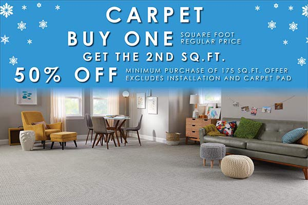 Buy one carpet at regular price per square foot and get the second square foot 50% off during our New Year New Floor sale. Minimum purchase of 175 sq ft. Offer excludes installation and carpet pad.
