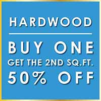 Buy one hardwood at regular price per square foot and get the second square foot 50% off during our New Year New Floor sale. Minimum purchase of 175 sq ft. Offer excludes installation.