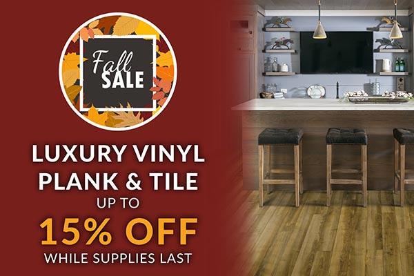 Luxury vinyl plank and tile 15% off